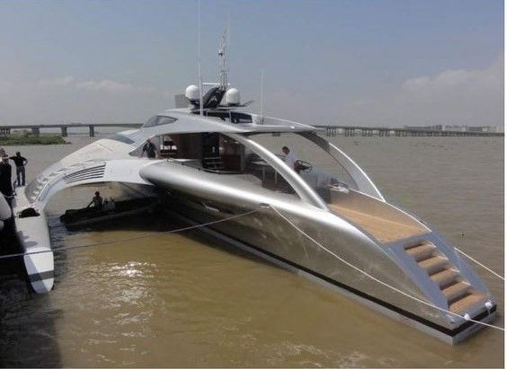 After five years of planning and construction a futuristic Trimaran superyacht Adastra by McConaghy boats in Zhuhai China, described as one of the most stunning of its kind, has been launched into the Pearl River in China. The 42.5 m luxury superyacht built for Hong Kong couple Anto and Elaine Marden, priced at 15 million USD, weighs 52 tons, has a range of 4000 nautical miles (at 17 knots) and a maximum speed of 22.5 knots