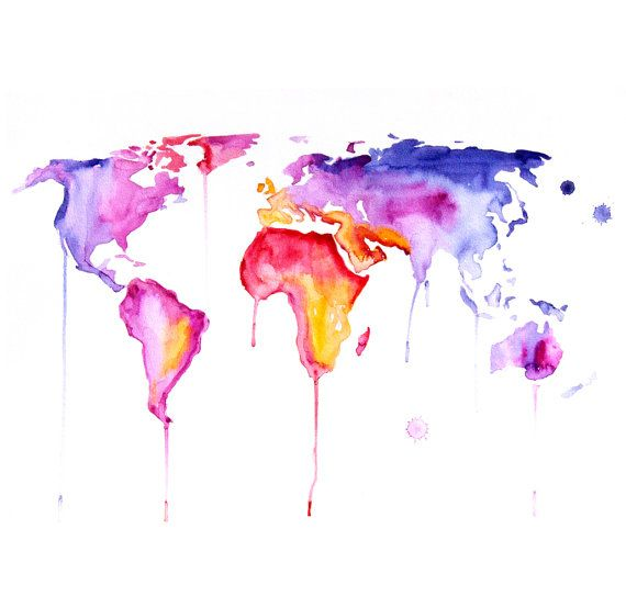 Original Watercolor Painting world map 30x40 abstract modern cool wall art home decor contemporary illustration. $260.00, via Etsy.