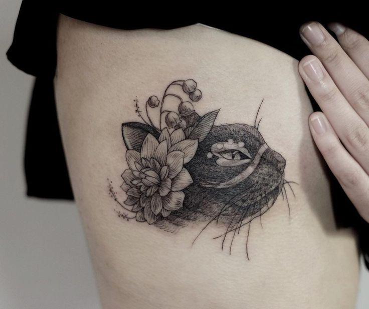 elegant cat tattoo on side by @mirmandainks