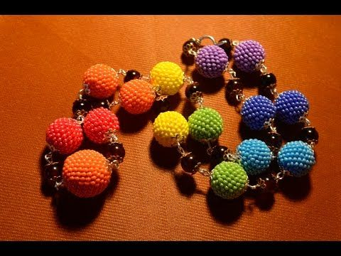 Бусы из бисера. Как обплести бусину? Бисероплетение. Мастер класс / Beads of bisera.Beading - YouTube