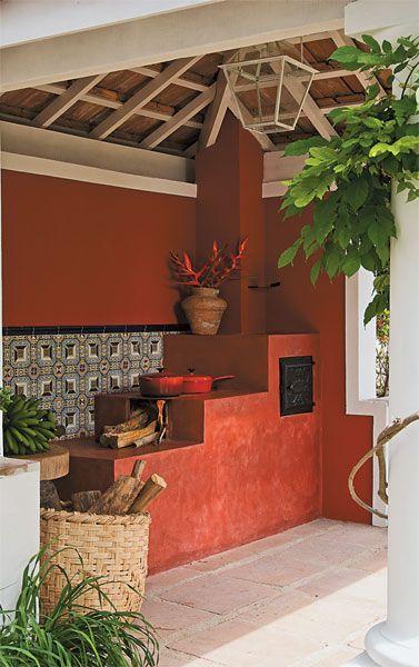 Do fogão a lenha construído de um kit pré-moldado (Aurélio Materiais para Construção). Arquiteto Marco do Carmo.: