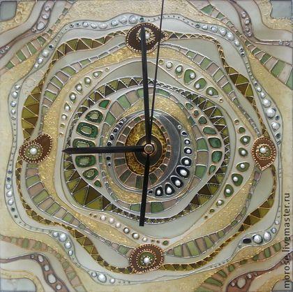 "Часы для дома ручной работы. Ярмарка Мастеров - ручная работа Часы ""Абстракция"" зеленые. Handmade."