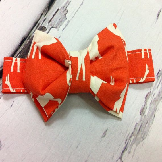 Birch organics elk family coral bow tie by CecilandBeryl on Etsy