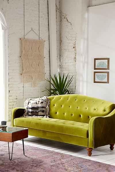 Ava velvet tufted sleeper sofa urban outfitters for Urban boho style furniture