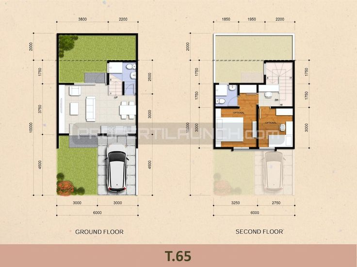 Tipe 65 denah rumah cluster Kireina Park BSD City.