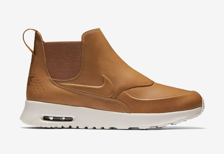 Nike Air Max Thea Mid — dámské kotníkové boty — kožené — slip on — dámská perka (Chelsea Boots) — hnědé, béžové, pískové #nike #nikeairmaxtheamid #nikeairmaxthea #nikeair #sneakers #chelseaboots