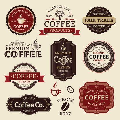 Rótulos de café - ilustração de arte em vetor