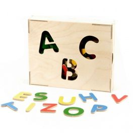 Lockable box with cut-out shapes and 53 letters for learning how to write. Made by Neo-Spiro.