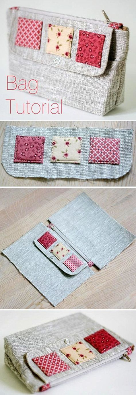 Cosmetic bag of linen with two compartments. DIY T…