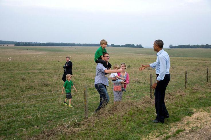 The POTUS casually greets a family at Stonehenge.