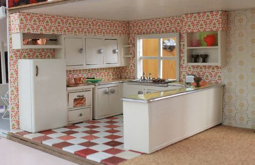 dollhouse kitchen midcentury retro - @hkmuir - can I do one of these for Baby Muir?!