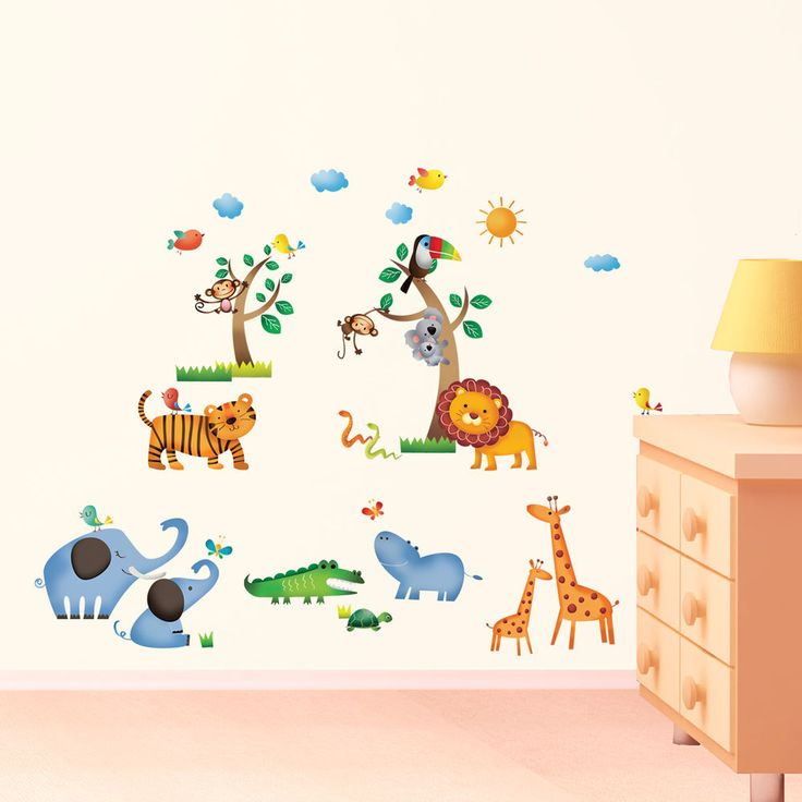 Elegant Decowall Jungle Animals Wall Stickers Removable Decal Art Children Room