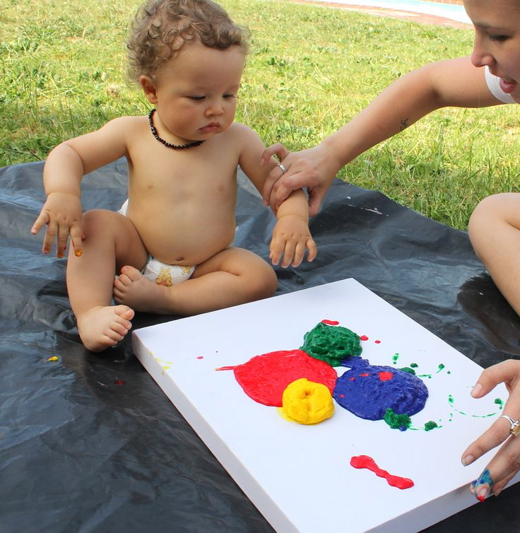 One year old tradition - finger paint canvas