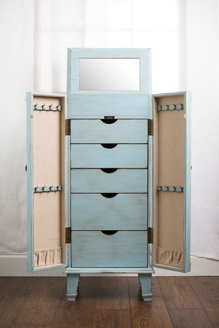 Jewelry armoire jewelry armoire pinterest blue for Juno vintage modern jewelry armoire