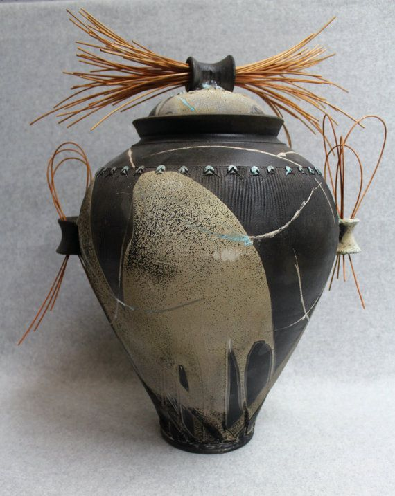 George Juliano | Large raku covered jar with reeds: Pottery Jars, George Juliano, Covers Ceramics Jars, Covers Jars, Lids Handles Jars, Raku Jars