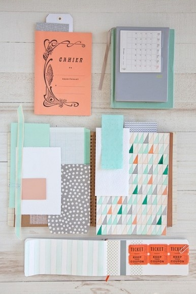 coral and blue paper goods