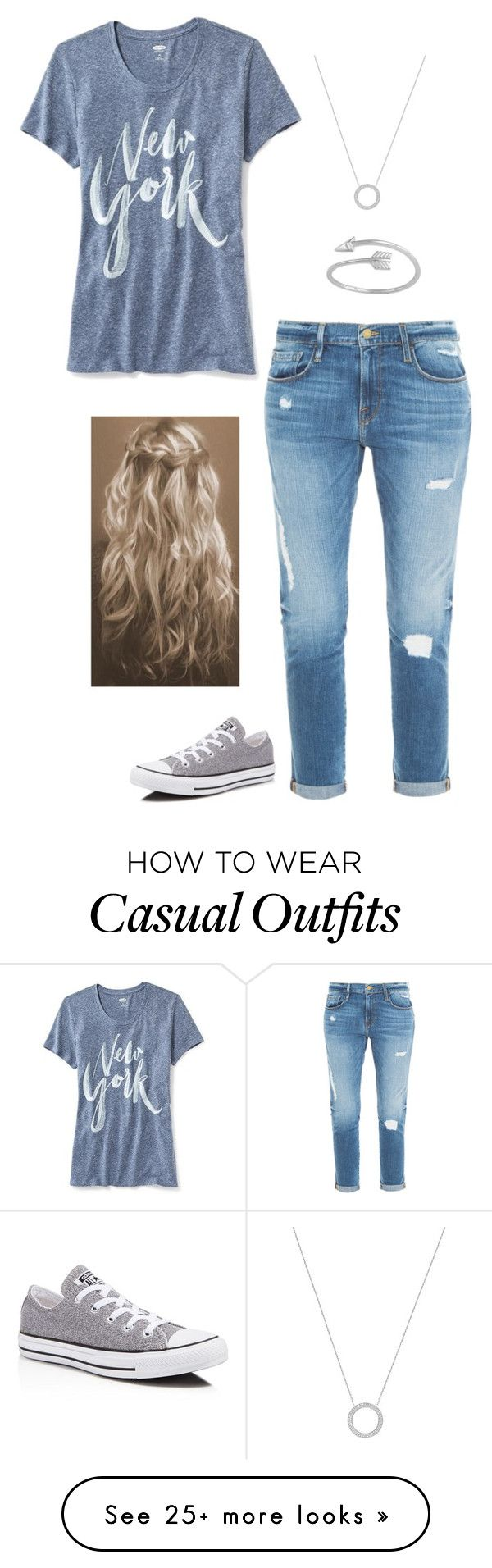"""Casual"" by flawless-gilinsky on Polyvore featuring Old Navy, Frame Denim, Converse and Michael Kors"