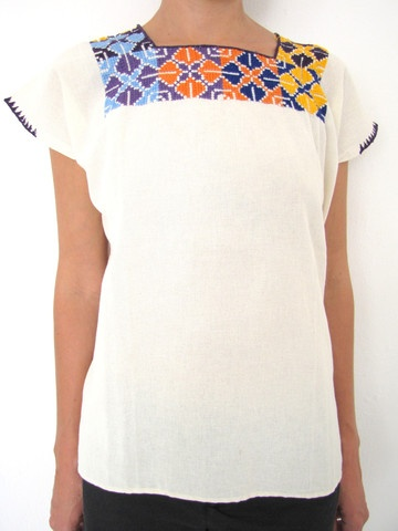 Traditional Mexican blouse diamond stitch handmade in Chiapas, Mexico