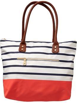 Canvas bag...navy & white stripes + coral bottom = love!