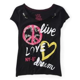 T-shirt col rond noir Aérospostale