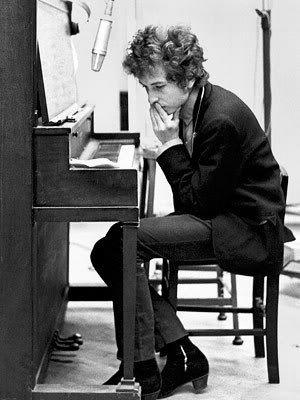earnest intensity on Bob Dylan's face