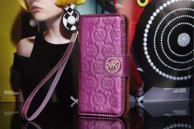 Michael Kors iPhone 7 Case Wallet MK Bling Vernis Cover Purple