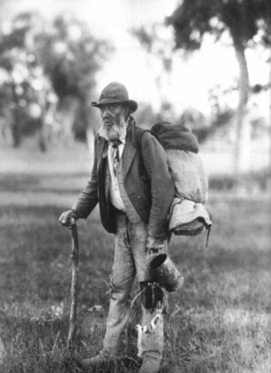 Elderly swagman in Australia, 1901