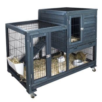 clapier d 39 int rieur en bois fsc gris 100x60x92 cm euros pour nos amis les animaux. Black Bedroom Furniture Sets. Home Design Ideas