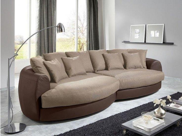 Canapé d angle tissu et PU MIRANDA Beige et chocolat