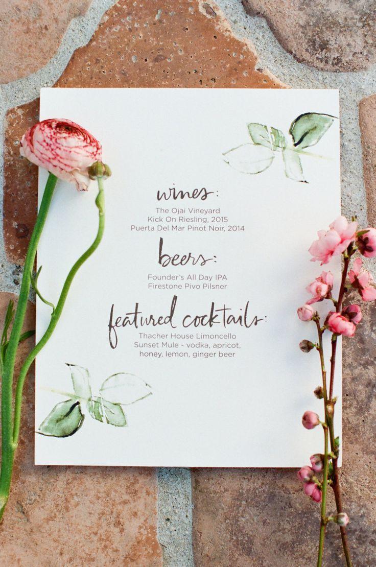 Wedding Bar Menu Spring Menu Bar Menu Wedding Menu Design