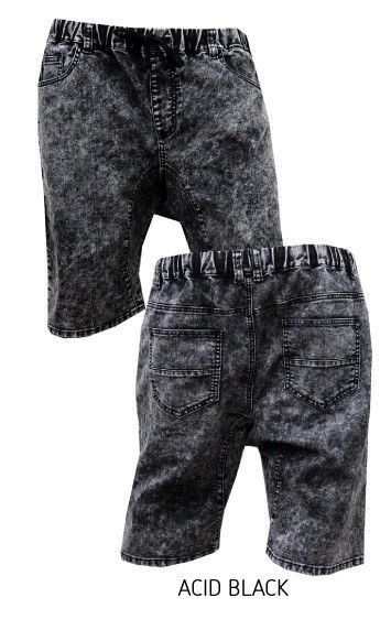 Jogger Style Acid Washed denim Shorts for Men with elastic waist and drawstring #JOGGER #Denim