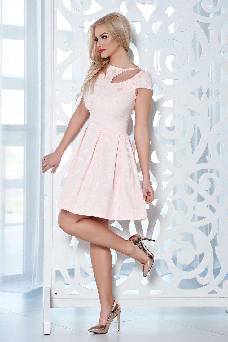 Comanda online, Rochie eleganta StarShinerS rosa cu decupaje in material. Articole masurate, calitate garantata!