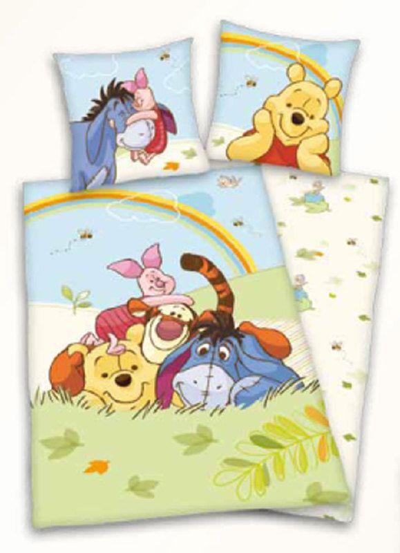 Winnie the Pooh kinder dekbedovertrekset Regenboog. Dat is maar 1 van de 5 verschillende winnie de Pooh dekbedovertrekken bij www.all4kidsshop.nl