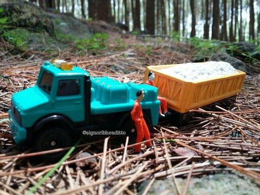 """""""Quick stop""""  (Mangunan Pine Forest, Imogiri - Quick Yogyakarta, Indonesia)  #diecastography #unimog #coallorry #amazingindonesia #pineforest #beautifulnature"""
