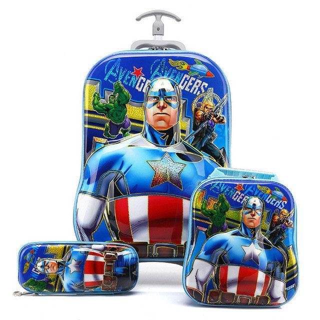 3D Batman Luggage+School Bag Set Boy/Kid Captain America Travel Trolley Bag+Pencil Case Suit/Student Cartoon Spiderman Suitcase