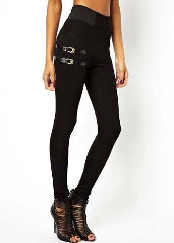 Glamorous Black Ankle Length Design Buckle Decorated Leggings – teeteecee - fashion in style