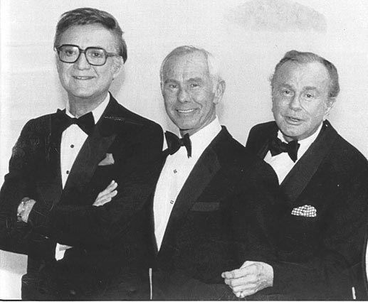 THE TONIGHT SHOW hosts Steve Allen, Johnny Carson, and Jack Paar.