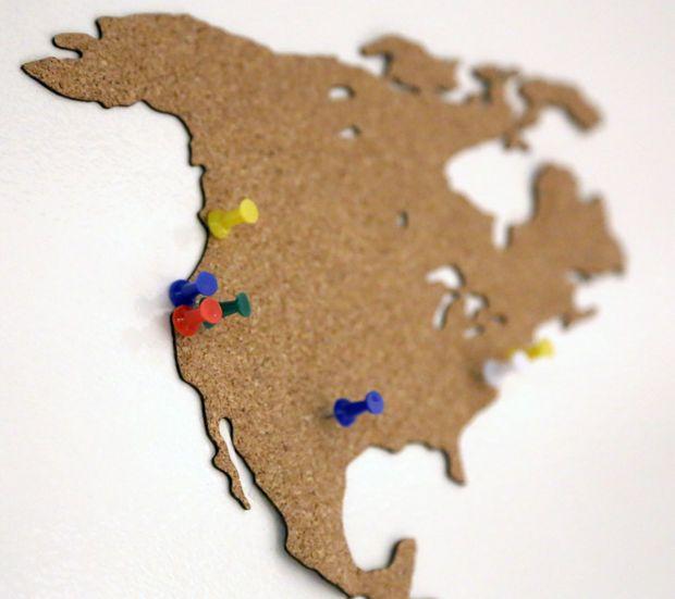 Cork World Map - Laser Cutting Cork #decoration #organization