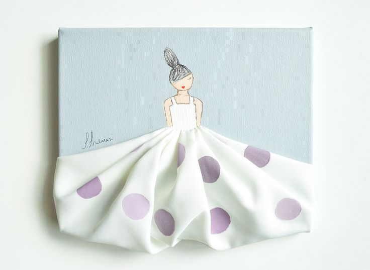 Little Princess in Polkadots - hand painted canvas, lavender nursery, nursery artwork, baby shower, nursery decor, baby room, girls room by ShenasiConcept on Etsy