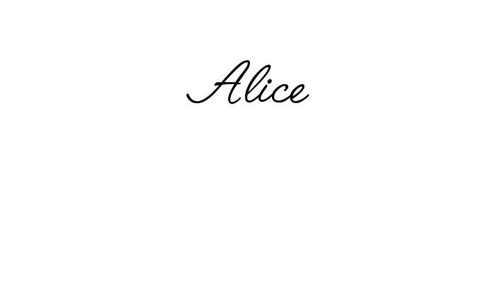 Tatuagem do nome Alice utilizando o estilo Angelface Regular