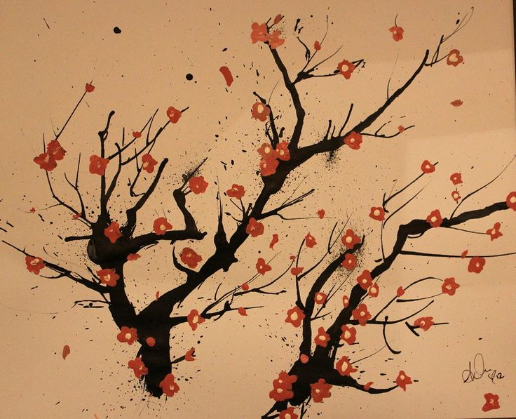 10 best japanese art images on pinterest japanese cherry for Simple cherry blossom painting