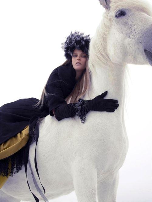 Carmen Kass by Sølve Sundsbø, 2005Black Lace, Beautiful Horses, Carmen Kass, Carmen Dell'Orefic, Harpers Bazaars, Marc Jacobs, White Horses, Fashion Photography, Haute Couture