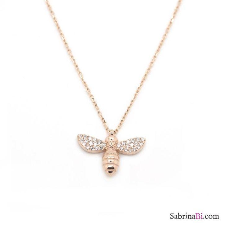 Collana corta argento 925 oro rosa Ape brillanti