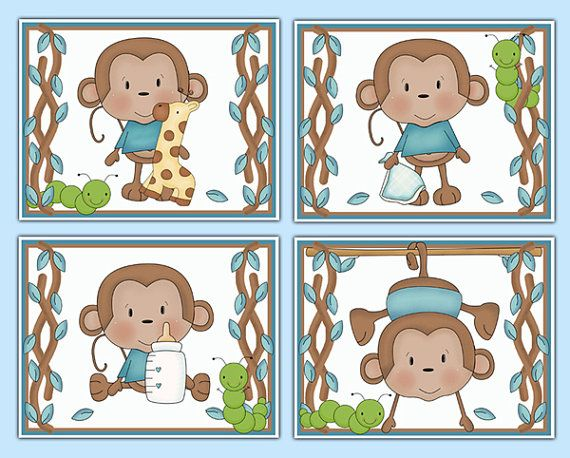 Hanging Swinging Monkey 8x10 Wall Art Prints for baby boy jungle animal nursery or children's safari room decor #decampstudios