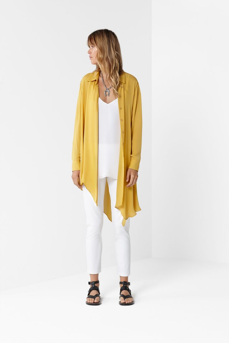 Gold Asymmetric Duster White Crystal Tank White 7/8 Pant