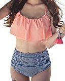"""Tempt Me Two Piece Women Flounce Ruched Crop High Waist Vintage Bikini Set Orange M   Tempt Me Own its Own US Trademark: 5083660. Tempt Me never authorized any other sellers to sell """"Tempt Me Brand"""" products, please just choose Tempt Me when you add to your cart. Adjustable shoulder..."""