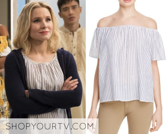"""Eleanor Shellstrop (Kristen Bell) wears this off shoulder striped top in this episode of The Good Place, """"Team Cockroach"""". It is the Joie Amesti B Top."""