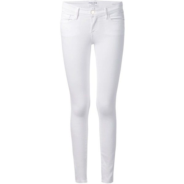 FRAME Denim Le Color Skinny Jean found on Polyvore featuring jeans, pants, bottoms, jeans/pants, skinny jeans, kirna zabete, wear-now style, denim skinny jeans, white skinny leg jeans and 5 pocket jeans