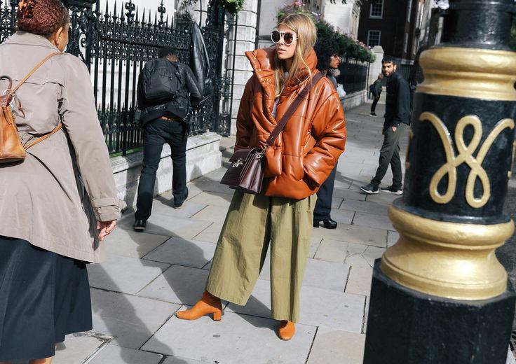 Monica Ainley in a Nanushka coat and Armani sunglasses