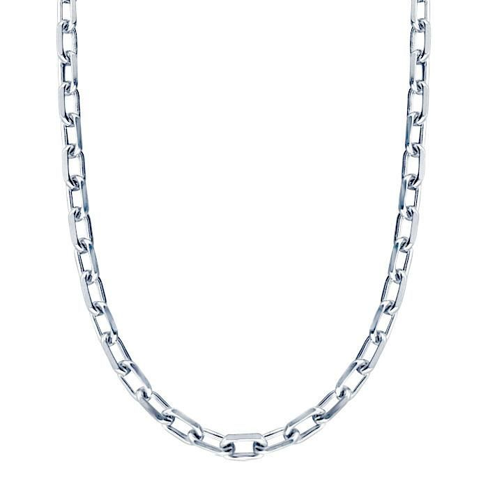 This rugged 5 mm thick men';s chain necklace is crafted entirely from solid .925 sterling silver oval links that have a diamond cut edge detail, secured by a lobster claw clasp. More Details